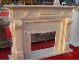 Fireplaces dell'interno, Yellow Marble Stone Carved Fireplace per Home Decoration
