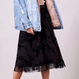 Falda de granadina de cintura elástica flocado de color negro