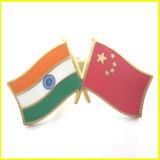 Emaillierte Legierung Gold überzogener China und Indien-MarkierungsfahnePin