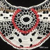 38*21cmはミルクの得られたギャザーのフリンジ最新のデザインDIYカラーレースファブリックHm2014を一周する女らしい服のアクセサリのための白い綿の襟足のレースのアップリケを染めた