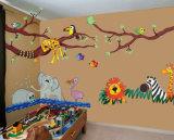 Papel de parede das pinturas murais dos animais da selva do tamanho da impressão de cor cheia grande para o quarto dos miúdos
