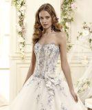 Robe de mariage bleue d'Applique (WDQH048)