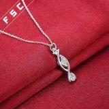 女の子のための熱い販売の銀によってめっきされる立方ジルコニアの吊り下げ式のネックレス