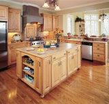 Gabinetes de cozinha luxuosos da madeira contínua do vidoeiro de Italy com console