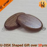 Regalo di legno di promozione dell'azionamento dell'istantaneo del USB della noce ovale calda (YT-8119)