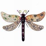 Décoration multicolore de jardin d'ornement de mur de libellule en métal