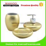 Модная этикета 3 PCS золотистая и застекленный брызгом керамический комплект ванной комнаты