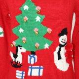 ジャカードデザインおよびアクリルの品質柔らかいHandfeelのクリスマスのLadeisのセーターの上