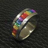 La manera colorea el rectángulo Stone Anillo del acero inoxidable (CZR2588)