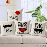 Г-н и Mrs случай подушки влюбленности 18 x 18 пар крышки валика крышек подушки хода хлопка дюйма Linen домашние декоративные, г-н & Mrs. Pillowcases, комплект 2
