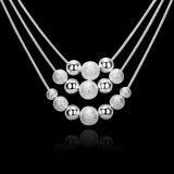 Drie voeren Halsband van Vele van Parels van de Halsband de Zilver Geplateerde van de Bal van de Tegenhanger Parels van de Halsband 18inch