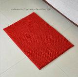 Tapete de porta de pilha de Chenille de cor vermelha