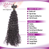 O cabelo humano não processado Curly brasileiro da trama 100% do cabelo do Virgin da beleza tece a cor natural