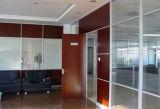 Cloison de séparation en verre en aluminium en bois de bureau moderne (NS-NW025)