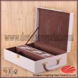 Наградная коробка вина кожи Faux с логосом и ручкой
