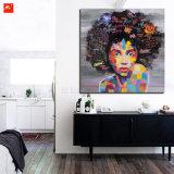 Het moderne Pop Olieverfschilderij van het Portret van Zwarten op het Af:drukken van het Canvas