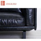 Sofá superior do sofá do couro genuíno da cor italiana do preto do estilo