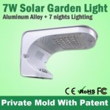 Alumínio Case Modern Solar LED Wall Light 7W para Outdoor Park
