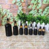 Botella de cristal vacía del cuentagotas del petróleo esencial de la capa negra mate de la alta calidad 10ml 15ml con la bomba