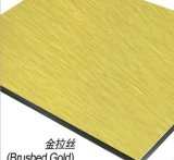 El panel compuesto de aluminio del cepillo de oro