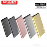La batería 10000mAh de la potencia de Kingleen 318s se dobla USB 2A hecho salir para el relámpago y el micr3ofono