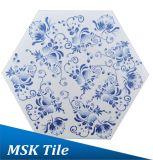 azulejo azul y blanco de la inyección de tinta de 200X230m m del hexágono de suelo