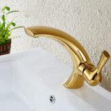 Robinet à levier unique de bassin de bassin de salle de bains de peinture d'or de Flg