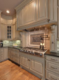 Module de cuisine contemporain blanc profilé en bois solide