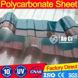 Hoja acanalada del policarbonato para la azotea como cubierta de la sol