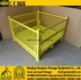 Складной Stackable контейнер паллета ячеистой сети металла с крышками/крышкой