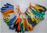 10 guanti Dkl326 del lavoro ricoperti palma blu del lattice lavorati a maglia stringa gialla del calibro