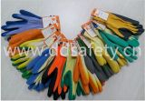 Ddsafety 2017 10 Gauge Yellow String Tricoté Blue Latex Gants de travail enrobés de gomme