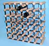 Cremagliera di legno del vino delle 42 bottiglie con le parti del metallo