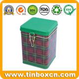 、茶筒浮彫りになることを用いる正方形の金属の茶錫、錫ボックス