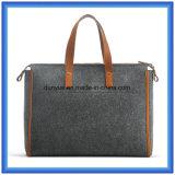 Sacchetto di mano portatile ecologico di acquisto del feltro delle lane di disegno semplice, sacchetto personalizzato della maniglia del Tote delle signore con la maniglia comoda di cuoio dell'unità di elaborazione