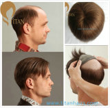 Top Quality 100% Remy Human Hair Toupee with Thin for Skin Base Man