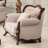 Strato classico del tessuto dell'oggetto d'antiquariato del sofà del salone con l'insieme della Tabella