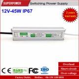 Fuente de alimentación impermeable constante de la conmutación del voltaje 12V 45W LED IP67