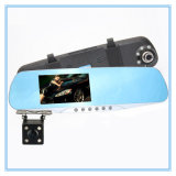Dual Lens blue Review Mirror Gravador de vídeo digital Night Vision Car DVR