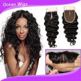 Chiusura bassa di seta 100% del merletto della nuova di arrivo della parte superiore del grado del Virgin onda profonda brasiliana dei capelli umani