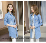 Camisa de moda feminina Loose Casual Denim Ripped Jacket
