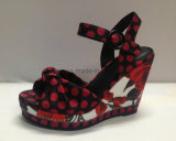 Keil-Frauen-Sandelholze der Dame-lederner Schuh mit Punkt-Drucken