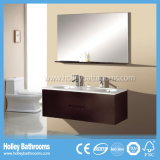 High-Gloss Lack-Speicherplatz-großer doppelter transparenter Glasbassin-Badezimmer-Schrank (BF117D)