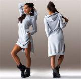 Las mujeres de algodón de invierno de cuello redondo de manga larga vestido casual