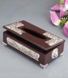 Silbernes Plated mit Wood Tissue Box (BW15828DON-1H)