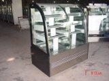 Réfrigérateur en verre d'étalage de gâteau incurvé la double par température