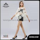 Poncho sans joint à crochet floral de collet large surdimensionné de mode