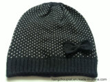 Donna Knitted Winter Gold Lurex Hat con Butterfly (HQW16053)