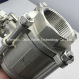 Tipo pesado de CF8/CF8m/CF3/CF3m 3 partes de válvula de esfera com fechamento