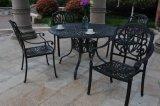 セットの家具の屋外の庭のホテルを食事する経済的な余暇の古典的な椅子の一定の熱い販売によって5PCSは会話型セット4の人の座席の鋳造アルミの家具が雑談する